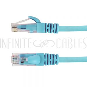 CAT6A-01AQ 1ft Cat6a UTP 10GB Molded Patch Cable - Aqua