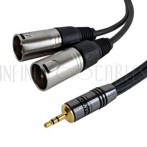 35MM-2XLRM-01.5 Premium Y-Splitter 3.5mm to 2x XLR Male Unbalanced Cable - Infinite Cables