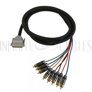 S8-25-RCA-03 Premium Phantom DB25 Male to 8x RCA Male 8-channel Snake cable (THX pinout) - Infinite Cables