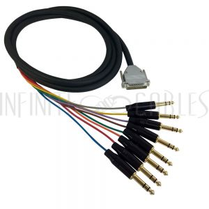 S8-25-TRS-03 Premium Phantom Cables DB25 Male to TRS Male Balanced Analog 8-Channel Snake Cable - Infinite Cables