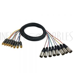 S8-RCA-XLRM-03 Premium Phantom Cables RCA Male to XLR Male Unbalanced Analog 8-Channel Snake Cable - Infinite Cables