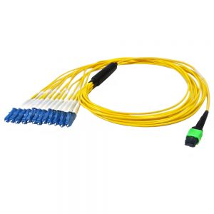 FO-1015-03P 12-Fiber Singlemode MPO/APC Female no guide pins to 12x LC/UPC not clipped, OFNP - Infinite Cables