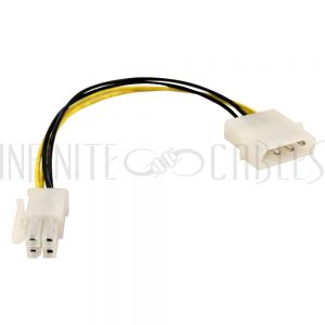 PW-IN525P4-06 6 inch LP4 Male to ATX 4 pin Female Internal Power Cable - Infinite Cables