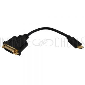 AD-HDMIC-DVI 6 inch Mini-HDMI Male to DVI Female - Black - Infinite Cables