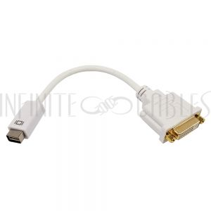 AD-MDVI-DVI 6 inch Mini DVI Male to DVI Female Adapter - White - Infinite Cables