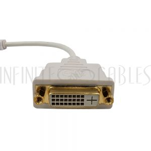 AD-MDVI-DVI 6 inch Mini DVI Male to DVI Female Adapter - White