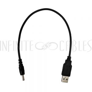 DCU-35135-01 1ft USB A Male to 3.5mm x 1.35mm DC Plug Power Cable - Infinite Cables