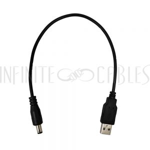 DCU-5521-01 1ft USB A Male to 5.5mm x 2.1mm DC Plug Power Cable - Infinite Cables