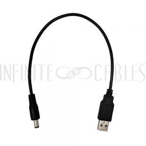 DCU-5525-01 1ft USB A Male to 5.5mm x 2.5mm DC Plug Power Cable - Infinite Cables