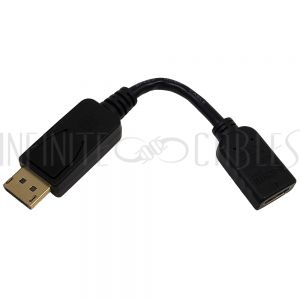 AD-DP-HDMI 6 inch DisplayPort Male to HDMI Female Adapter - Black