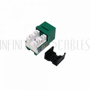 JK-C6P1-GN RJ45 Cat6 Slim Profile Jack, 110 Punch-Down - Green - Infinite Cables