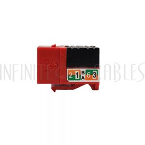 JK-C6P1-RD RJ45 Cat6 Slim Profile Jack, 110 Punch-Down - Red