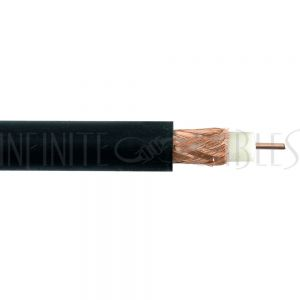 BK-CXRG59-P 1000ft RG59 20AWG Solid Copper 95% Braid 75 Ohm CMR Bulk Cable - Black - Infinite Cables