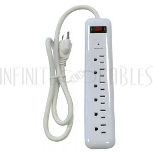 PB-161-WH 6 outlet Surge Protector  - 750J, 3ft Cord - White - Infinite Cables