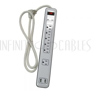 PB-500-WH 6 Outlet Surge Protector - 1800J, 4ft Cord, Down Angle Plug, 2 USB Charging Ports - White - Infinite Cables
