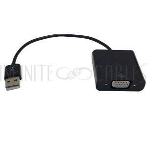 USB-VGA 6 inch USB 2.0 A Male to VGA Female Adapter - Black - Infinite Cables