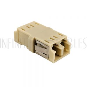 FO-AD108-PMR LC/LC Fiber Coupler F/F Multimode OM1/OM2 Duplex Ceramic Reduced Flange - Beige - Infinite Cables