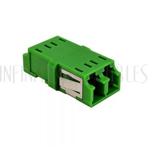 FO-AD208-PMRA LC/LC APC Fiber Coupler F/F Singlemode Duplex Ceramic Reduced Flange - Green - Infinite Cables