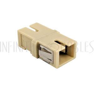 FO-AD504-PMR SC/SC Fiber Coupler F/F Multimode OM1/OM2 Simplex Ceramic Reduced Flange - Beige - Infinite Cables