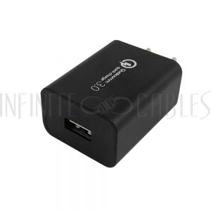 CH-USB-AC1Q-BK USB Wall Charger - Qualcomm Quick Charge 3.0 - Black - Infinite Cables