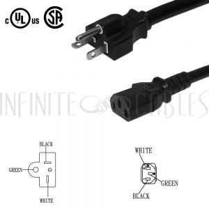 PW-130-03 NEMA 5-20P to IEC C13 Power Cable - 14AWG SJT - Infinite Cables