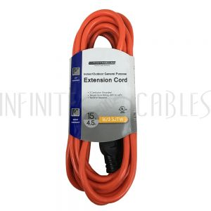PX-100B-015OR 15ft General Purpose Indoor/Outdoor Extension Co - 5-15P to 5-15R - 16AWG SJTW - Orange - Infinite Cables