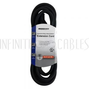PX-120C-010BK 10ft Industrial & Shop Indoor/Outdoor Extension Co - 5-15P to 5-15R - 14AWG SJOW - Black