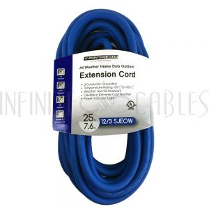 PX-130D-025BL 25ft Outdoor All-Weather Extension Co  - 5-15P to 5-15R - 12AWG SJEOW - Power Indicator Light -  Blue