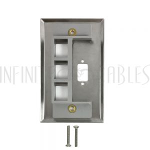 WP-102-SS 1-Port DB9 size cutout + 3 x Keystone Stainless Steel Wall Plate - Infinite Cables