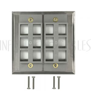 WP-12P-SS Double Gang, 12-Port Keystone Stainless Steel Wall Plate - Infinite Cables