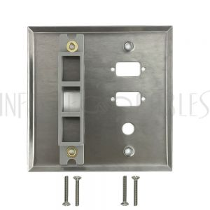 WP-201-SS Double Gang, 2-Port DB9 size cutout , 1 x 3/8 inch hole, 1 x Keystone Stainless Steel Wall Plate