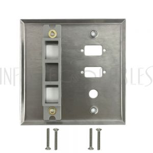 WP-204-SS Double Gang, 2-Port DB9 size cutout , 1 x 3/8 inch hole, 2 x Keystone Stainless Steel Wall Plate - Infinite Cables