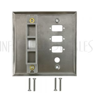 WP-205-SS Double Gang, 3-Port DB9 size cutout , 1 x 3/8 inch hole, 1 x Keystone Stainless Steel Wall Plate - Infinite Cables
