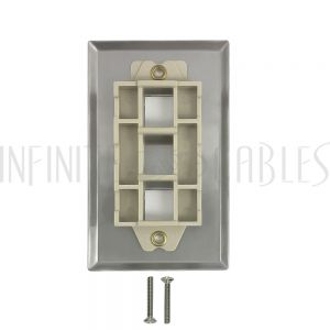 WP-2P-SS 2-Port Keystone Stainless Steel Wall Plate - Infinite Cables
