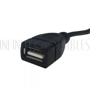 USB-231-01 1ft USB 2.0 A Right/Left Angle Male to A Straight Female Cable - Black - Infinite Cables