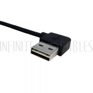 USB-221-01 1ft USB 2.0 A Straight Male to A Right/Left Angle Male Cable - Black