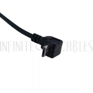 USB-264-01 1ft USB 2.0 A Straight Male to Micro-B Down Angle Cable - Black - Infinite Cables