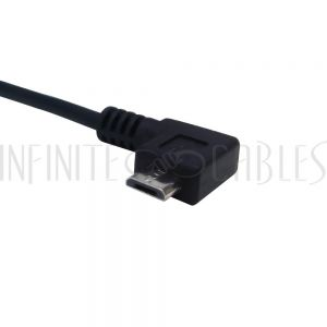 USB-261-01 1ft USB 2.0 A Straight Male to Micro-B Right Angle Cable - Black - Infinite Cables