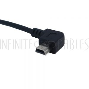 USB-237-01 1ft USB 2.0 A Straight Male to Mini-B 5-Pin Left Angle Cable - Black