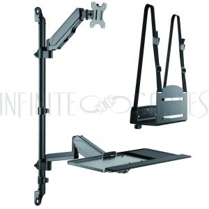 MT-2700-BK Sit-Stand Wall Mount Workstation - Black - Infinite Cables