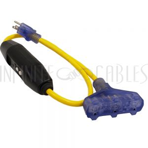 PG-005-03 3ft 5-15P GFCI Plug to Triple Tap 5-15R Adapter - 12AWG SJTW - Yellow