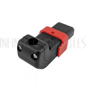PW-CNC13L-UA C13 Locking Power Cord Connector - Screw On - Up or Down Angle (IEC-Lock Part #: PA130100DBK) - Infinite Cables