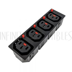 PW-SCL-C13-4T C13 Locking Receptacle - 4 Tier - 6.3mm Terminal, 1.5mm Panel Thickness - Black (IEC-Lock Part #: PA135015BK4) - Infinite Cables