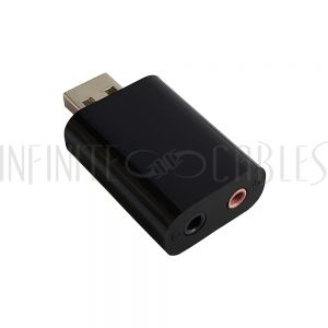 USB-35MM USB A Male to 3.5mm Headphone/Microphone Adapter - Black