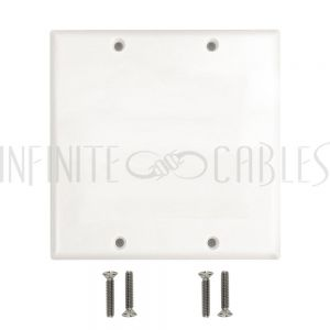 WP-WH2 Double Gang Wall Plate, Solid - White