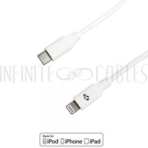AP-USB6-03WH Apple iPhone 8-pin Lightning to USB Type-C Cable - White - Infinite Cables