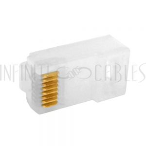 CN-RJ45C6I-10 RJ45 2 Piece Cat6 Plug Rugged PCM Material for Solid or Stranded Round Cable (8P 8C) - Pack of 10