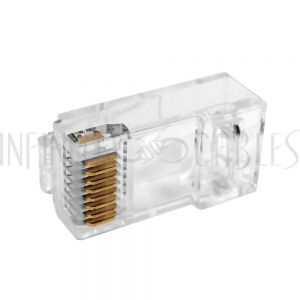 CN-RJ45C6U1-10 RJ45 1 Piece Cat6 Plug for Round Cable (Solid or Stranded) (8P 8C) - Pack of 10 - Infinite Cables