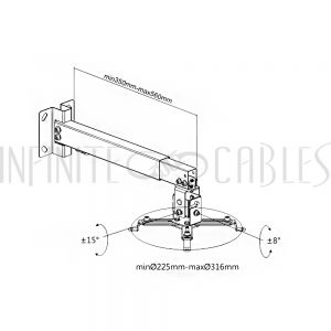 MT-822-BK Projector Wall/Ceiling Mount, 4 Arm Tilt & Rotate Adjustable Length 430 to 650mm - Black - Infinite Cables