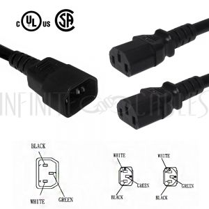 PW-200B-01 1ft IEC C14 to 2x IEC C13 Power Splitter Cable - 16AWG SJT - Infinite Cables